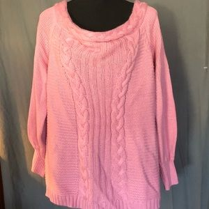 Lb off the shoulder sweater. 14/16. Pink. Exc con
